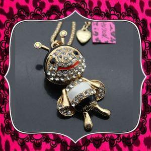 Betsey Johnson Crystal Enamel Bee Pendant Necklace